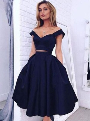 A-line/Princess Sleeveless Taffeta Off-the-Shoulder Tea-Length Dresses
