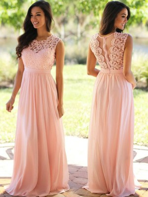 A-Line/Princess Sleeveless Chiffon Scoop Applique Floor-Length Dresses