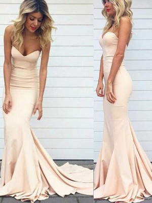 Trumpet/Mermaid Sleeveless Satin Sweetheart Sweep/Brush Train Dresses