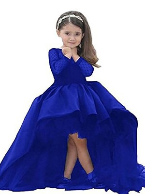 Ball Gown Scoop Sweep/Brush Train Sash/Ribbon/Belt Long Sleeves Satin Flower Girl Dresses