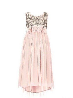 A-line/Princess Scoop Floor-Length Sequin Sleeveless Chiffon Flower Girl Dresses