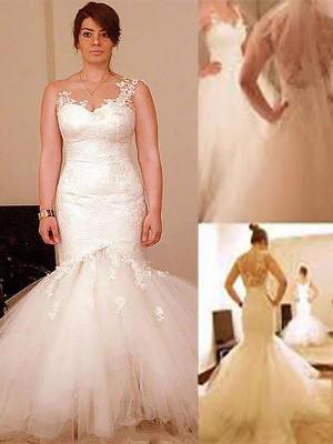 Trumpet/Mermaid Sleeveless Organza Straps Floor-Length Wedding Dresses