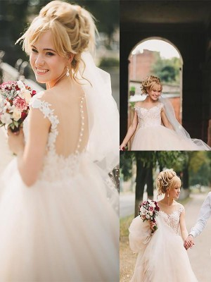 A-Line/Princess Sleeveless Tulle Scoop Court Train Wedding Dresses
