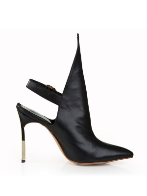 Women's Cattlehide Leather Stiletto Heel Closed Toe With Buckle Black Booties
