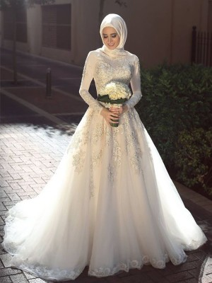 Ball Gown Long Sleeves Tulle Sweep/Brush Train Jewel Applique Wedding Dresses
