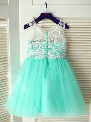 A-Line/Princess Scoop Tea-Length Sleeveless Tulle Flower Girl Dresses