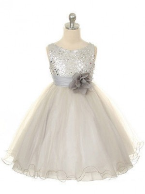 Ball Gown Jewel Tea-Length Hand-Made Flower Sleeveless Tulle Flower Girl Dresses