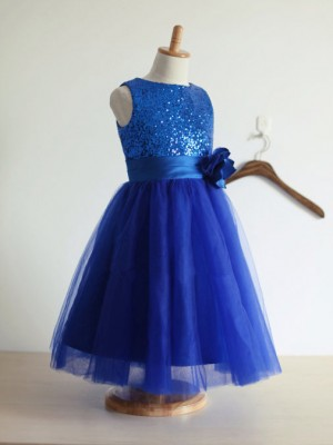 A-Line/Princess Jewel Tea-Length Hand-Made Flower Sleeveless Tulle Flower Girl Dresses