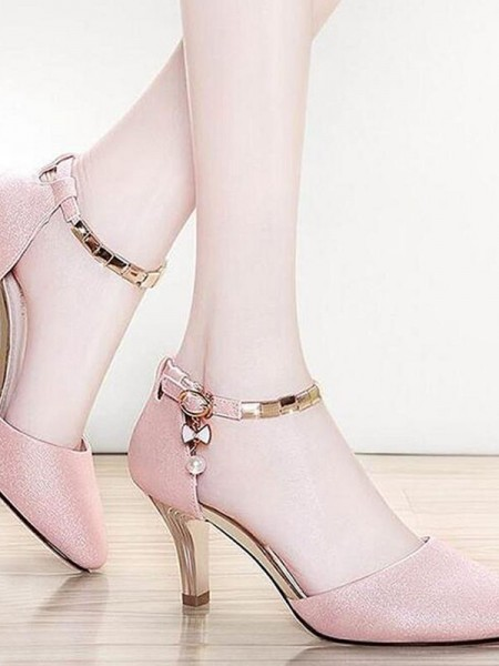Leatherette Stiletto Heel Closed Toe Women's Sandals
