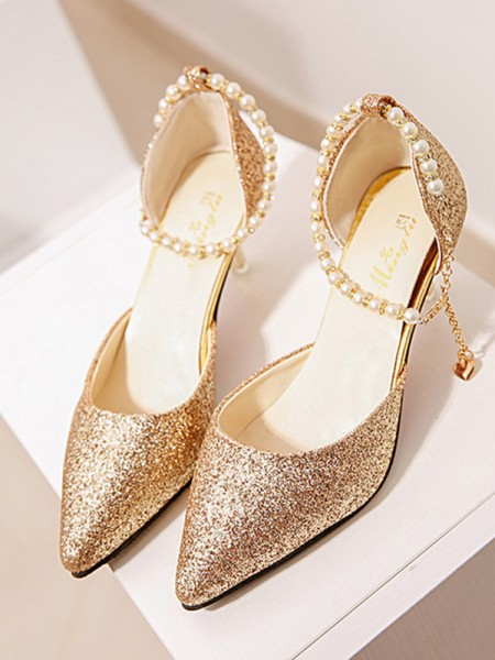 Ladies's Pearl Stiletto Heel Closed Toe High Heels