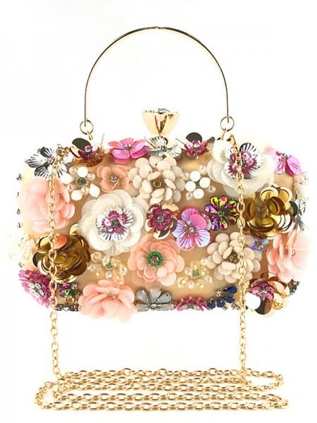 Pretty Satin 3D Flowers Casual Evening Bags
