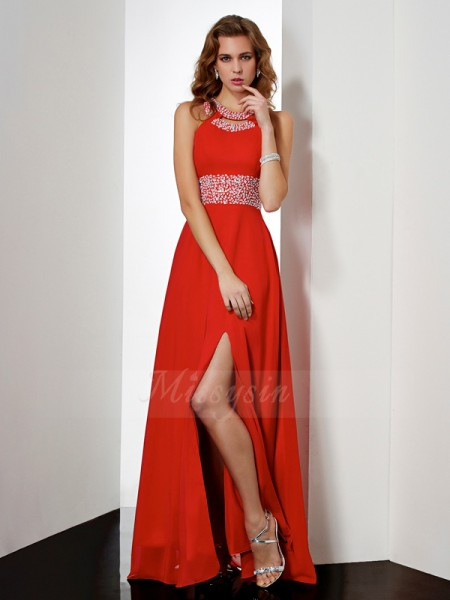 Empire Sleeveless Floor-Length Chiffon Jewel Acrylic Jewels Dresses