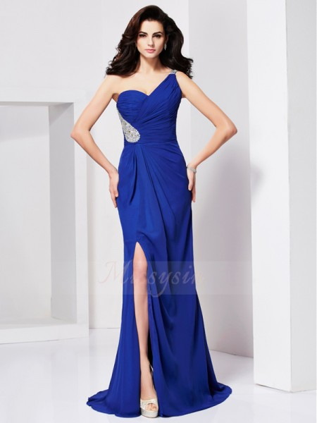 A-Line/Princess Sleeveless Sweep/Brush Train Chiffon One-Shoulder Pleats,Beading Dresses