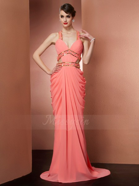 A-Line/Princess Sleeveless Sweep/Brush Train Chiffon Halter Beading Dresses
