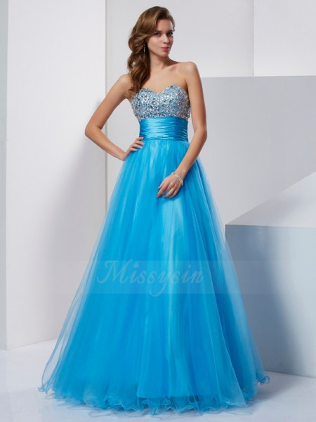 A-Line/Princess Sleeveless Floor-Length Tulle Sweetheart Beading Dresses
