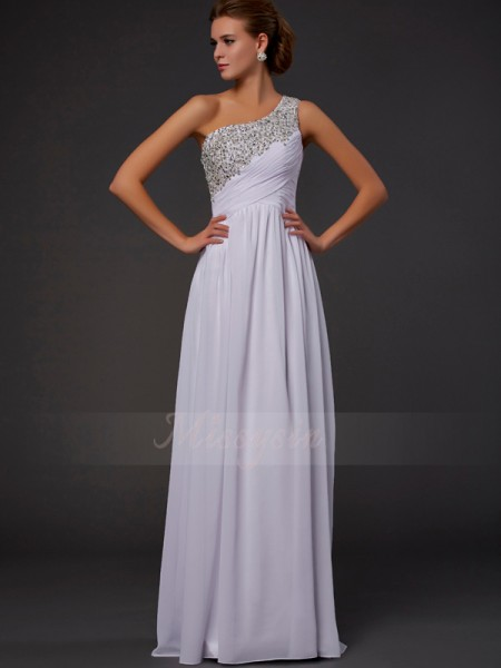 Sheath/Column Sleeveless Floor-Length Chiffon One-Shoulder Beading Dresses