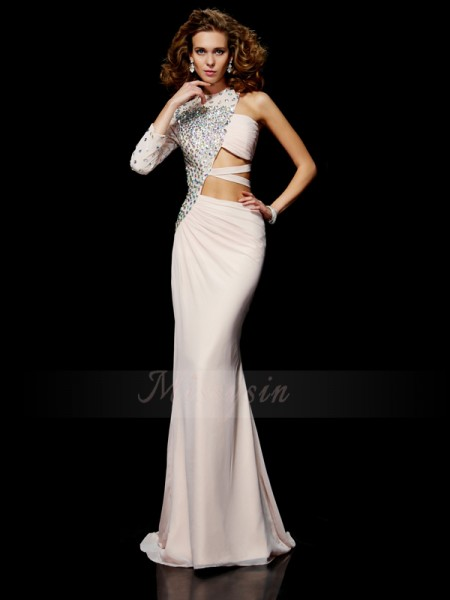 Sheath/Column Sleeveless Sweep/Brush Train Chiffon One-Shoulder Ruffles,Beading Dresses