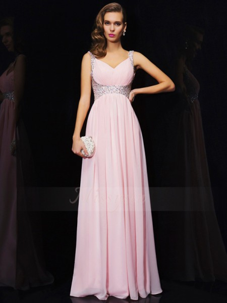 A-Line/Princess Sleeveless Floor-Length Chiffon V-neck,Straps Beading Dresses