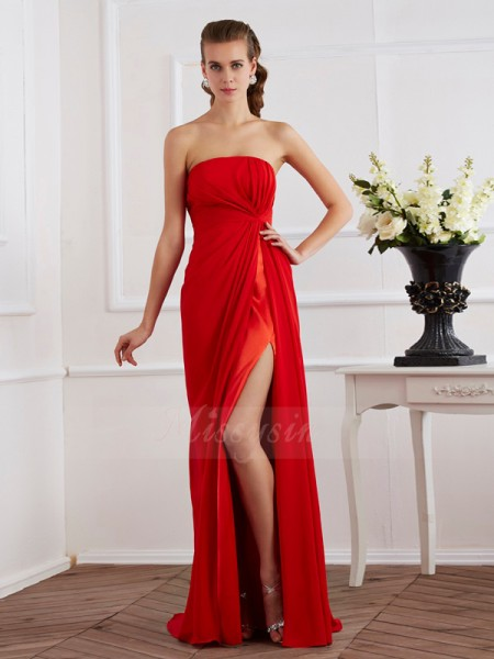 Sheath/Column Sleeveless Floor-Length Chiffon Strapless Pleats Dresses
