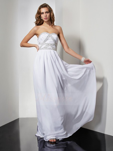 Sheath/Column Sleeveless Floor-Length Chiffon Strapless,Sweetheart Beading Dresses