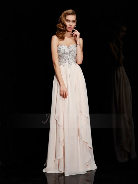 Sheath/Column Sleeveless Floor-Length Chiffon Sweetheart Beading Dresses