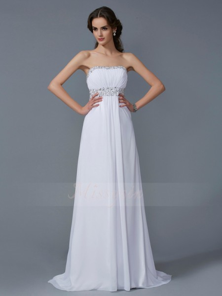 A-Line/Princess Sleeveless Sweep/Brush Train Chiffon Strapless Beading Dresses