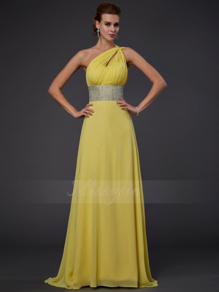 A-Line/Princess Sleeveless Floor-Length Chiffon One-Shoulder Beading Dresses