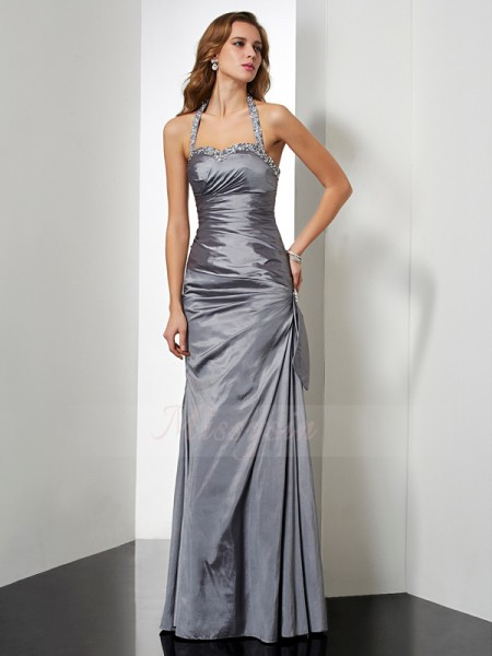 Trumpet/Mermaid Sleeveless Floor-Length Taffeta Halter Beading,Bowknot Dresses