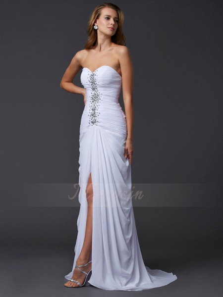 Sheath/Column Sleeveless Sweep/Brush Train Chiffon Sweetheart Beading Dresses