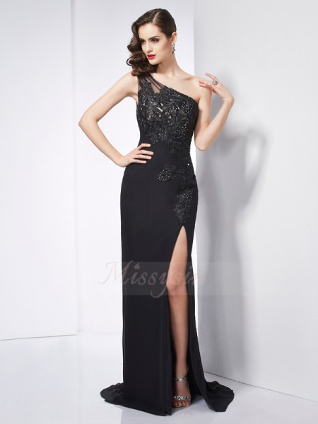 Sheath/Column Sleeveless Sweep/Brush Train Chiffon One-Shoulder Applique Dresses