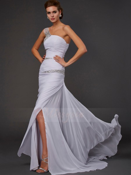 Sheath/Column Sleeveless Sweep/Brush Train Chiffon One-Shoulder Beading Dresses
