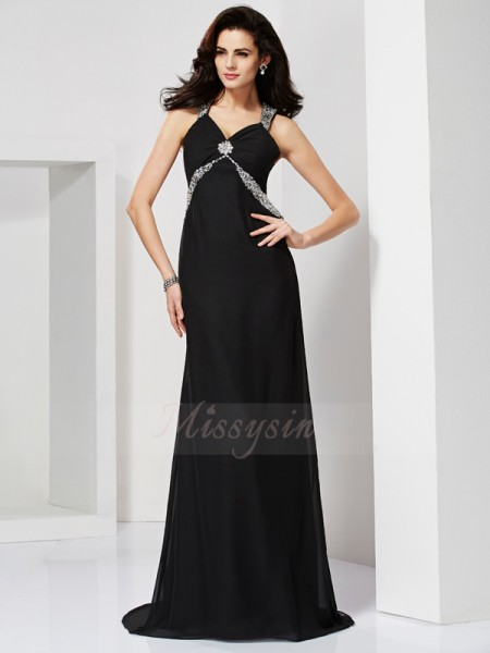 Sheath/Column Sleeveless Sweep/Brush Train Chiffon Straps Beading Dresses