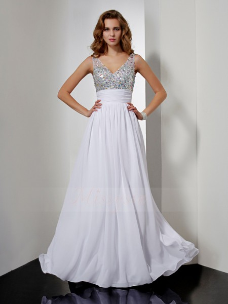 A-Line/Princess Sleeveless Floor-Length Chiffon V-neck Rhinestone Dresses