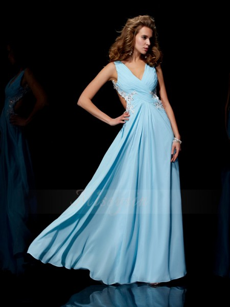 A-Line/Princess Sleeveless Floor-Length Chiffon Straps Beading,Applique Dresses