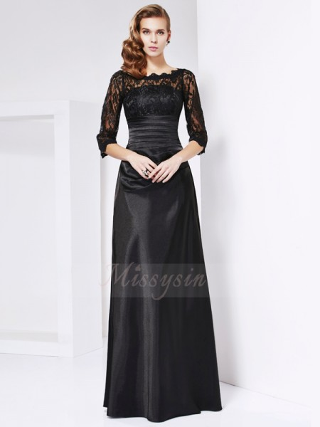 Sheath/Column 3/4 Sleeves Floor-Length Elastic Woven Satin Off-the-Shoulder Dresses