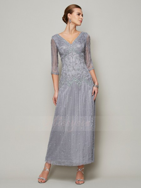 Sheath/Column 1/2 Sleeves Ankle-Length Elastic Woven Satin V-neck Beading Mother Of The Bride Dresses