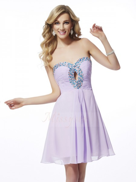 A-Line/Princess Sleeveless Short/Mini Chiffon Sweetheart Beading Cocktail Dresses