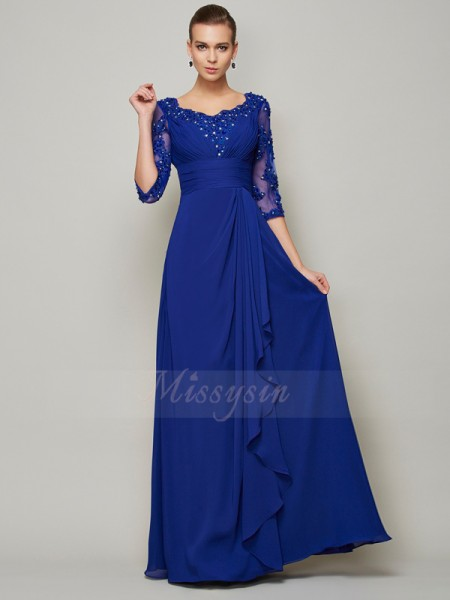 A-Line/Princess 3/4 Sleeves Floor-Length Chiffon Scoop Mother Of The Bride Dresses