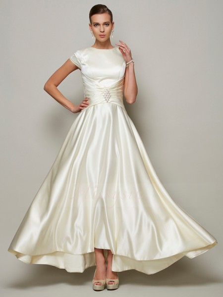 A-Line/Princess Short Sleeves Floor-Length Satin Scoop Beading Mother Of The Bride Dresses