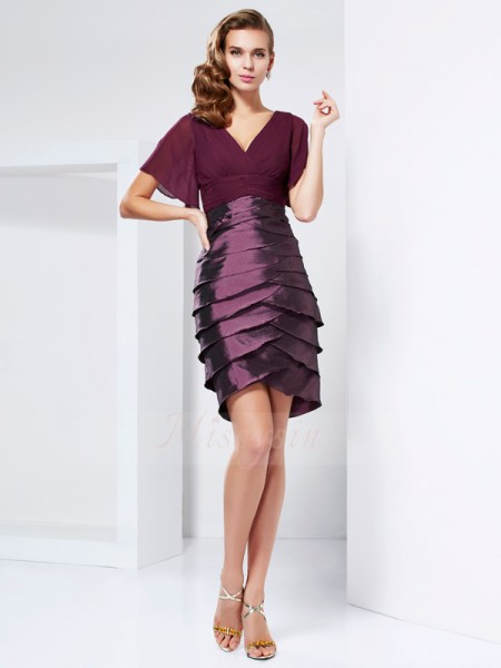 A-Line/Princess Short Sleeves Knee-Length Taffeta V-neck Ruffles Mother Of The Bride Dresses