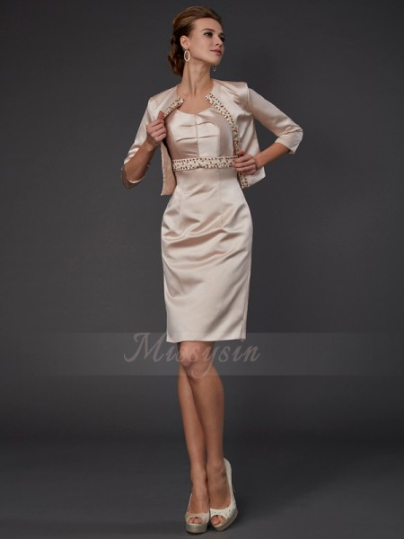 Sheath/Column Sleeveless Knee-Length Satin Square Beading,Sequin Mother Of The Bride Dresses