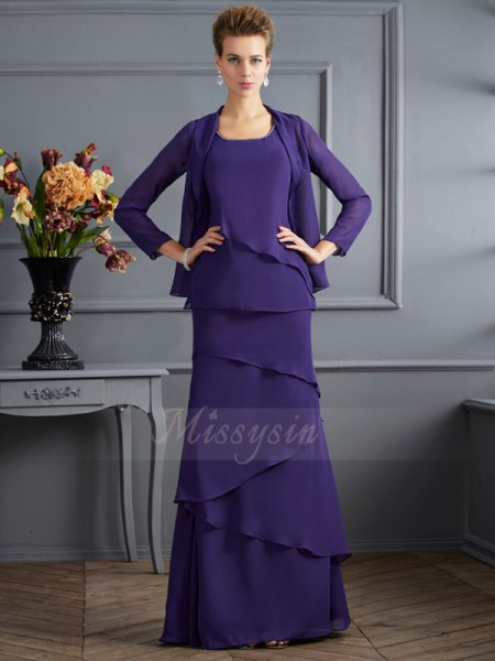 Sheath/Column Sleeveless Floor-Length Chiffon Scoop Ruffles Mother Of The Bride Dresses