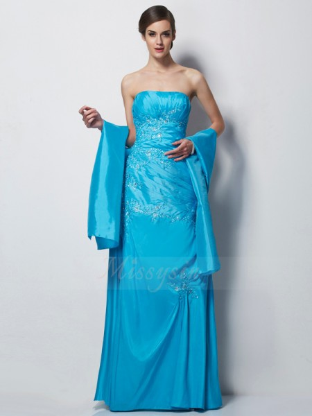 A-Line/Princess Sleeveless Floor-Length Taffeta Sweetheart Applique Mother Of The Bride Dresses