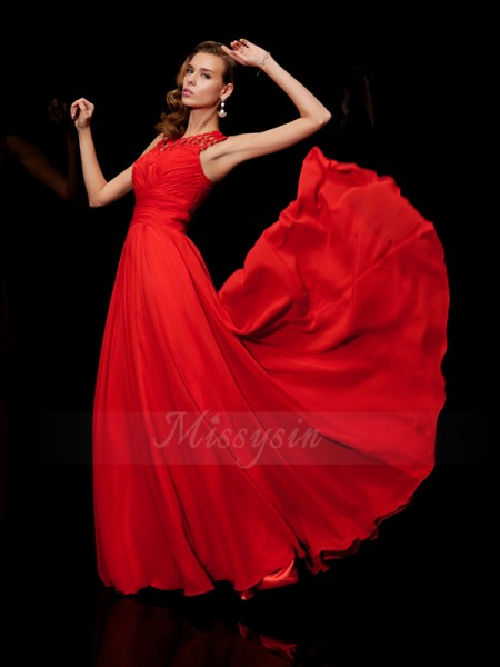 A-Line/Princess Sleeveless Floor-Length Chiffon High Neck Pleats Dresses