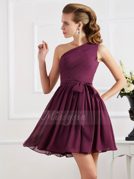 A-Line/Princess Sleeveless Short/Mini Chiffon One-Shoulder Pleats Dresses