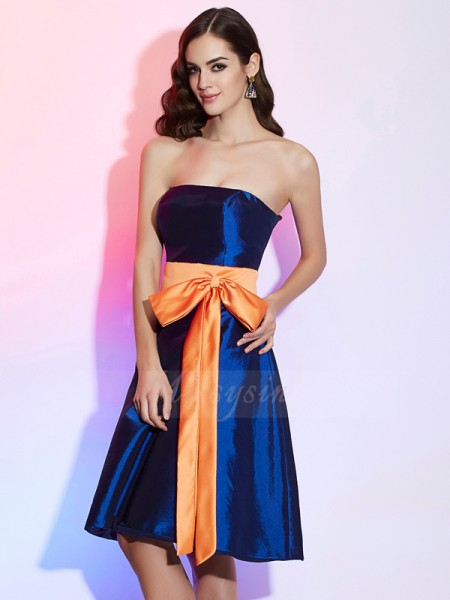 A-Line/Princess Sleeveless Knee-Length Taffeta Strapless Sash/Ribbon/Belt Bridesmaid Dresses