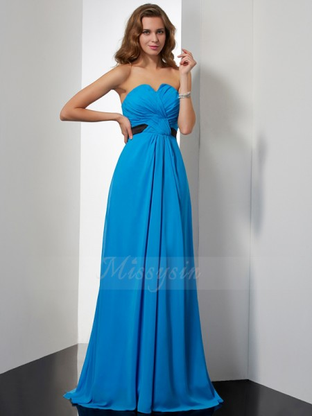 A-Line/Princess Sleeveless Sweep/Brush Train Chiffon Sweetheart Sash/Ribbon/Belt Dresses