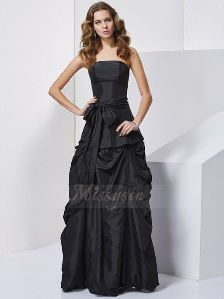 Sheath/Column Sleeveless Floor-Length Taffeta Strapless Bowknot Dresses