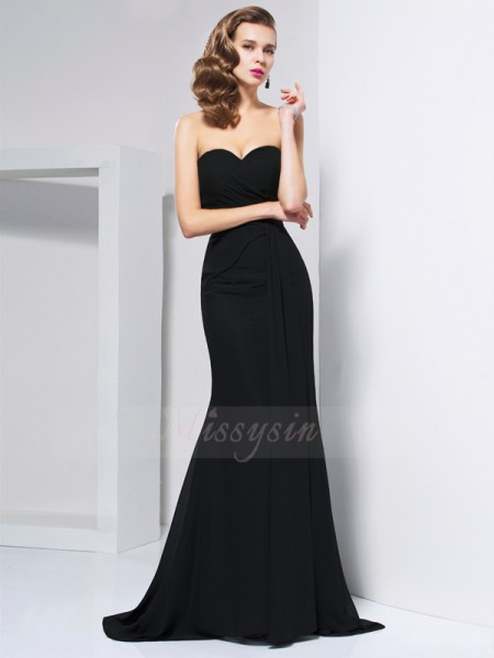 Trumpet/Mermaid Sleeveless Sweep/Brush Train Chiffon Sweetheart Pleats Dresses