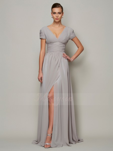 A-Line/Princess Short Sleeves Floor-Length Chiffon V-neck Dresses